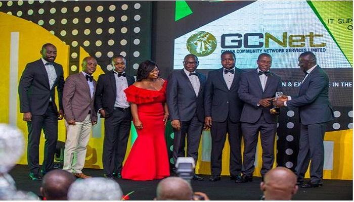 The GCNet teamled by the Information Security Manager, Isaac Boye, receiving the award