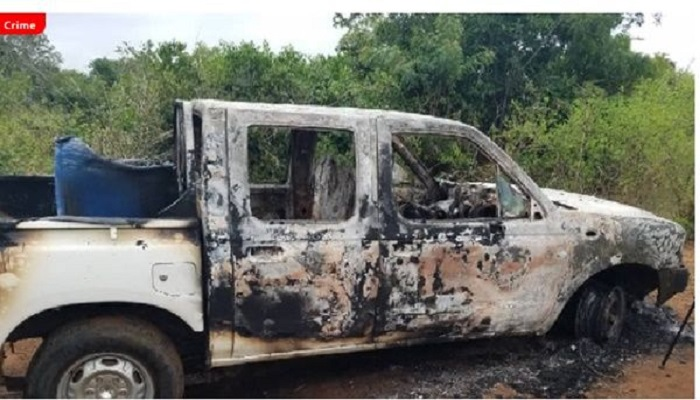 The burnt Toyota Pickup truck