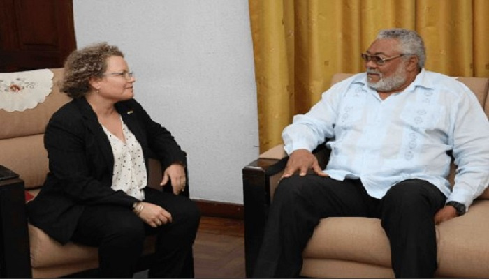Former President Rawlings in a conversation with Israel's Ambassador to Ghana, Shani Cooper