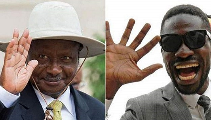 Long-time leader Yoweri Museveni (L) is being shaken up by Bobi Wine (R)
