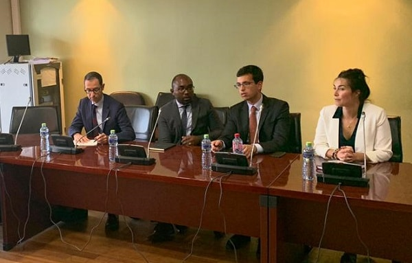 The IMF delegation, led by Mr Carlo Sdralvich (2nd right), at the meeting
