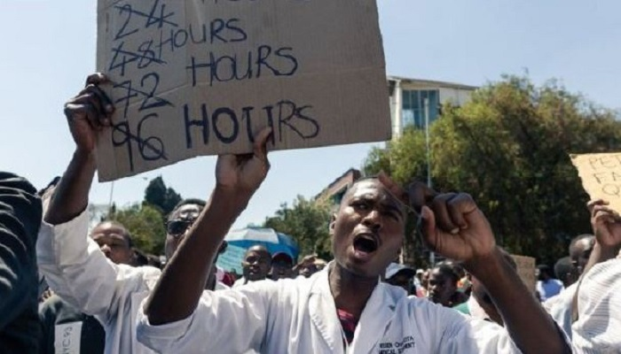 Protesters say hospitals continue to be poorly stocked and remain a death trap