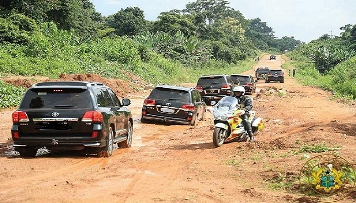 The Eastern Corridor Road when President Akufo-Addo visited the Region