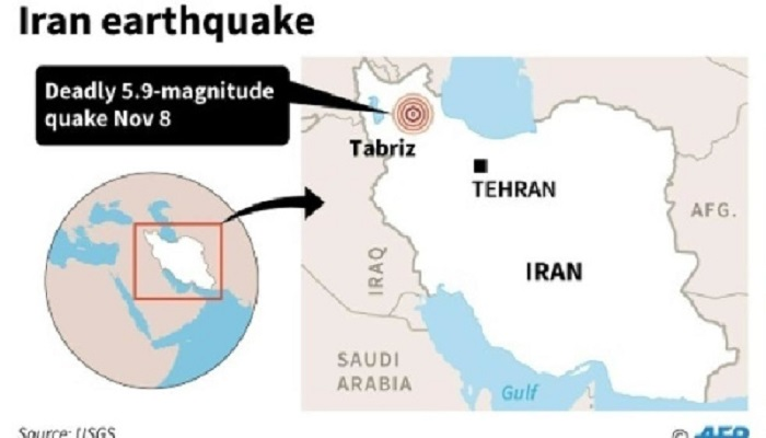 The 5.8 magnitude earthquake hit the northwestern part of Iran