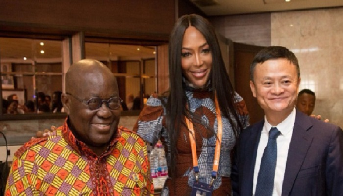 Naomi Campbell pictured with President Akufo-Addo and Jack Ma