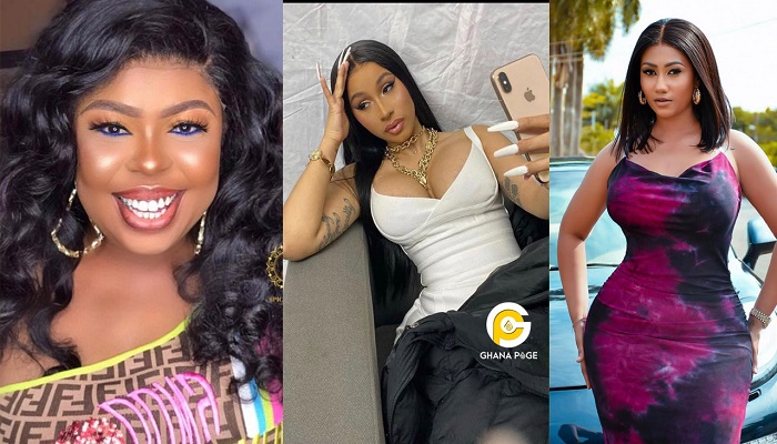 Cardi B (M) and some female Ghanaian celebrities