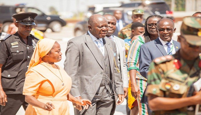 Asantehene with the Vice Chancellor of the university and some other officials