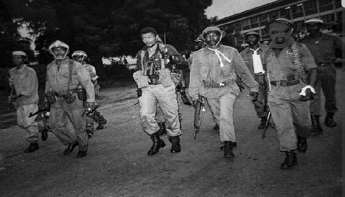 Rare photo of Rawlings after an attempted coup d'etat