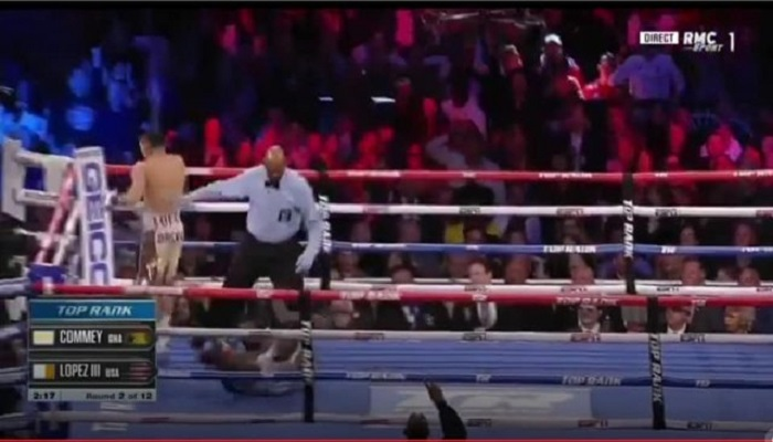 Commey took a heavy punch in round two and went to the ground