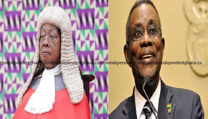 Outgoing Chief Justice, Sophia Akuffo and the late President John Atta Mills