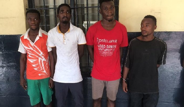 The four suspects in police custody