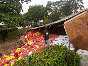 The truck was loaded with bags of rice and flour