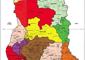 The map of Ghana capturing all 16 regions and their capitals