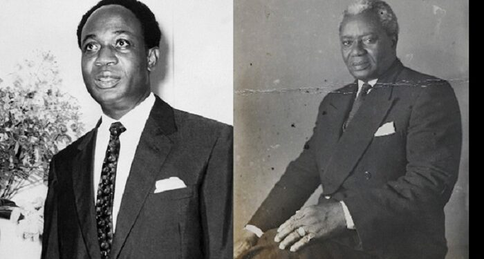 Dr. Kwame Nkrumah (L) Ghana's first President and Dr. Joseph Boakye Danquah (R)