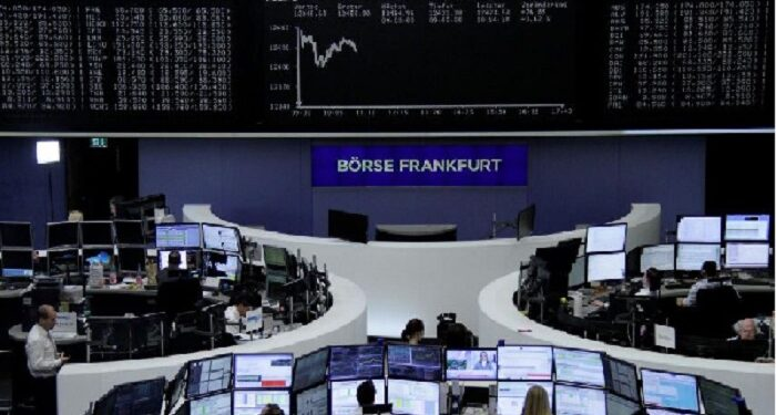 European shares edged down, oil fell and the dollar erased some gains on Tuesday