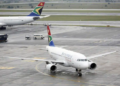 A South African Airways plane taxis after landing at O.R. Tambo International Airport in Johannesburg. (Rogan Ward:Reuters)
