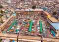An aerial shot of Obuasi main station