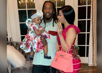 Offset with wife and daughter