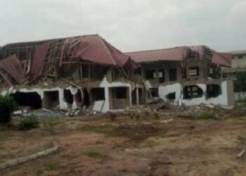 The demolished building at the Nigerian High Commission