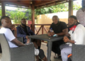 Kaywa, Mr Drew, Stonebwoy and team pose after meeting