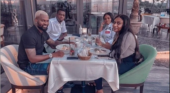 Afriyie Acquah and Aziz Tetteh with their wives