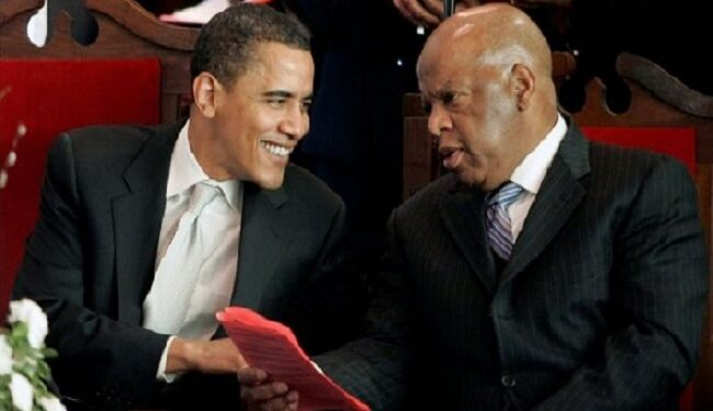 Barack Obama is among the US politicians to pay tribute to John Lewis