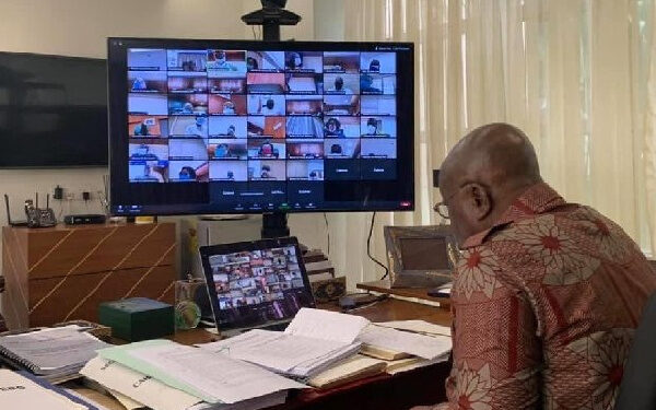 President Nana Akufo-Addo is seen chairing the virtual Cabinet meeting