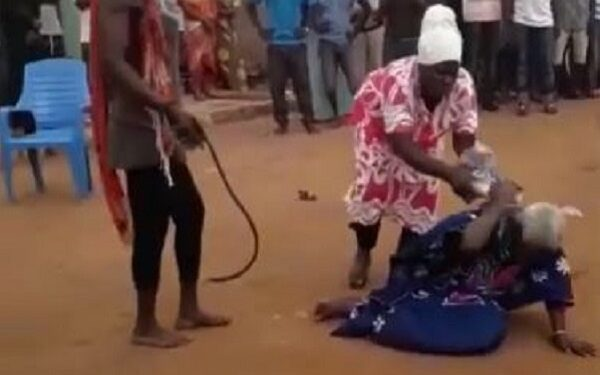 90-year-old woman, Madam Dente was lynched to death on accusations of witchcraft