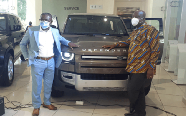 Mr. Ankomah, MD of Alliance Motors with Kwame Sefa Kayi unveiling the Defender