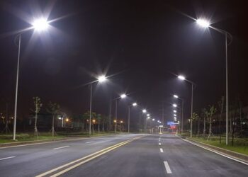 Street lights on a road stretch