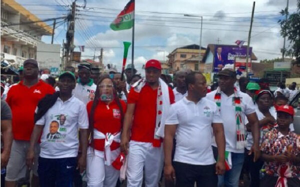 Abdul Rauf Tubazu with some constituents during a campaign walk