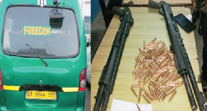 The bus suspected to have been used in the robbery (left) and the two pump action guns with 100 rounds of AK 47 ammunition retrieved from the crime scene (right)