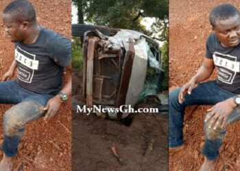 John Kpeli's vehicle somersaulted severally after losing its balance