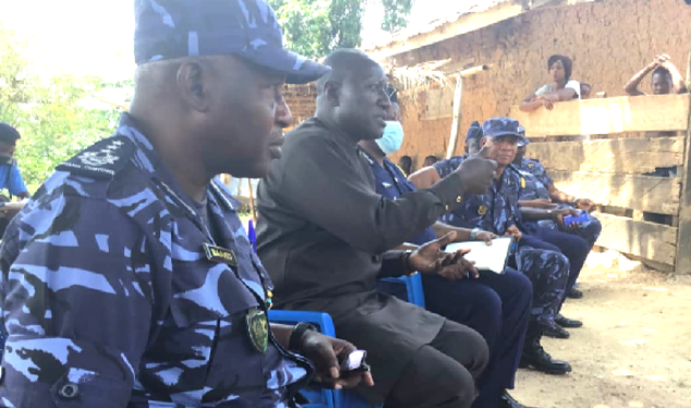 Col Kwadwo Damoah (2nd left) with the top hierarchy of the Customs Division during the interaction with staff in the Oti Region