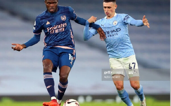 Thomas Partey made his debut for Arsenal in their 1-0 loss to Manchester City
