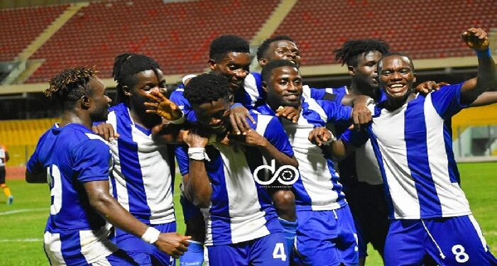Accra Great Olympics players in celebration mood (Photo by Dada Oliseh)