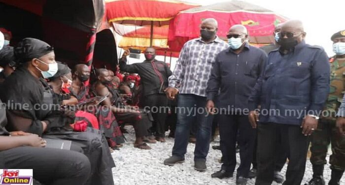 President Akufo-Addo consoling the widow, Mrs Ophelia Hayford (left), and the family at the funeral. Picture: Joy News