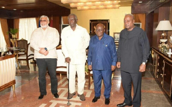 File Photo- From L-R - Former President Rawlings, John A Kufour, President Akufo-Addo and John Maham