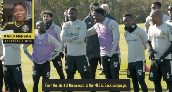 Kafui Mensah breaking the news to Columbus Crew players
