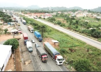 Trucks parked on both shoulders of the Nkawkaw road. Picture: Douglas Anane Frimpong