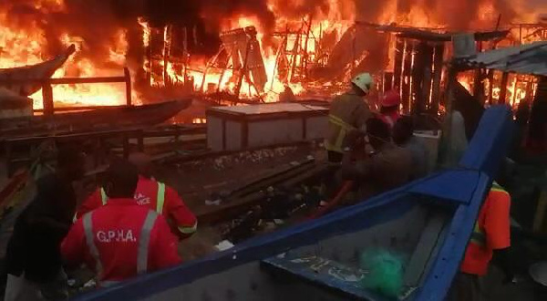 The fire destroyed several fishing gears at the fishing bay