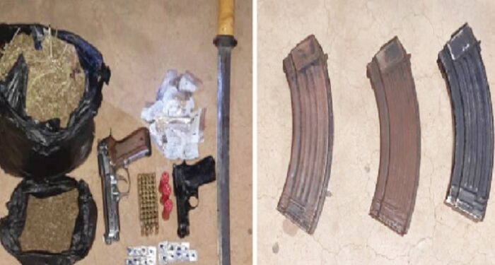 The firearms and narcotic drugs retrieved from the suspect