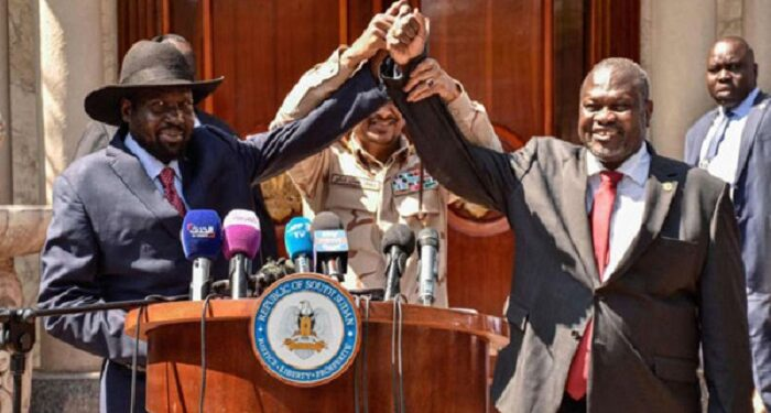 South Sudanese President Salva Kiir and Riek Machar after their peace talk at the State House in Jub