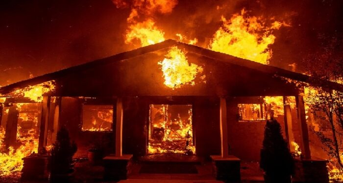 File photo of a burning house