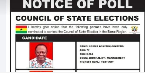 Michael Aidoo, has withdrawn from the Council of State elections race in the Western North Region