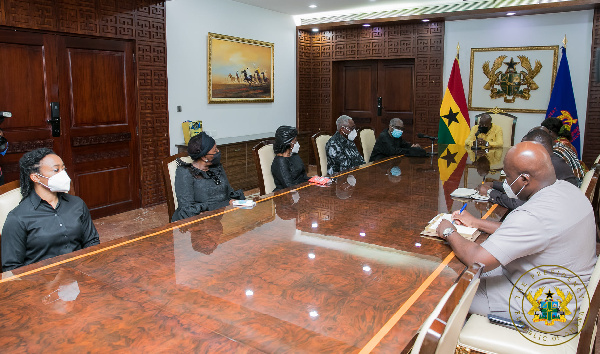The delegation was led by Ambassador James Victor Gbeho and included the widow of Mr Rawlings