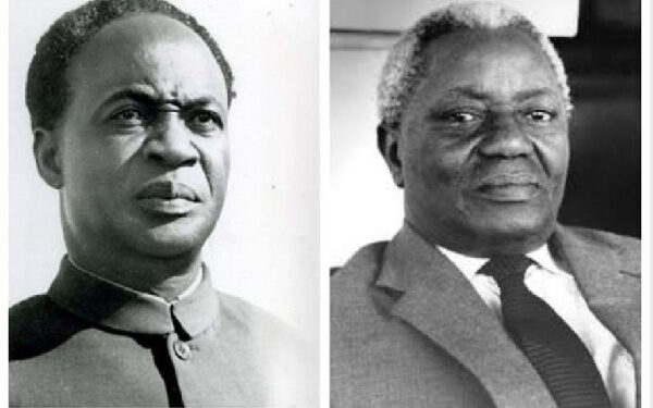 Kwame Nkrumah (left) and J. B. Danquah (right)