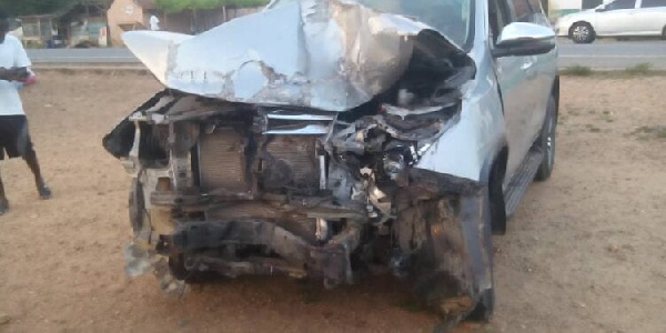 The former MP's car mangled after the accident