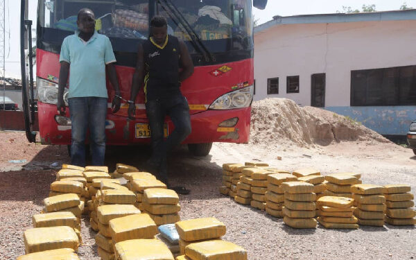 The police intercepted a bus carrying 260 slabs of Indian Hemp