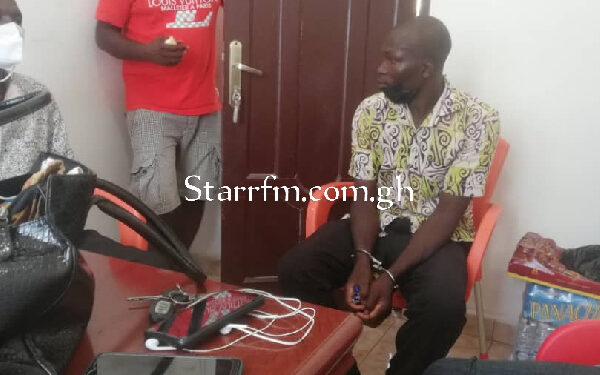 The suspect in police custody after he was arrested